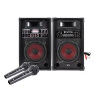 """Skytec SPA800 8"""" Karaoke Speakers & Wired Microphones"""