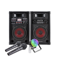 Fenton SPA800 Bluetooth Active Party PA Speaker Pair, DJ Jellyball Light & Microphones