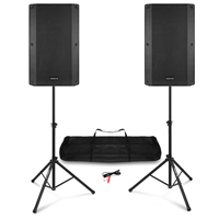 "Vonyx VSA150S 15"" Active PA Speakers with Stands"