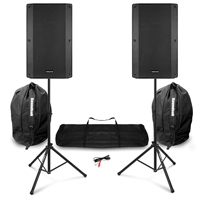 "Vonyx VSA150S 15"" Active PA Speakers, Stands & Bags"