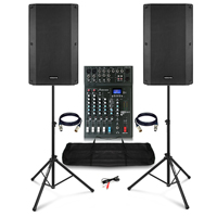"Complete PA System with Vonyx VSA150S 15"" Active Speakers, Studiomaster 6-Ch Mixer, Stands & Bag"