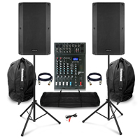"Complete PA System with Vonyx VSA150S 15"" Active Speakers, Studiomaster Mixer & Stands & Carry Bags"