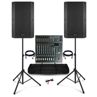 "Complete PA System with Vonyx VSA150S 15"" Active Speakers, Studiomaster Mixer & Stands & Bag"