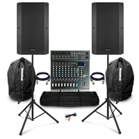 "Complete PA System with Vonyx VSA150S 15"" Active Speakers, Studiomaster CLUB XS10+ Mixer & Stands"