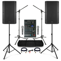 "Complete Karaoke PA System with Vonyx VSA150S 15"" Active Speakers, Studiomaster Mixer & Accessories"