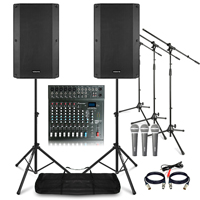 "Complete Band PA System with Vonyx VSA150S 15"" Active Speakers, Studiomaster PA Mixer & Accessories"