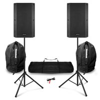 "Vonyx VSA120S 12"" Active Speakers with Speaker Stands & Bag"