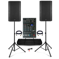 "Complete PA System with Vonyx VSA120S 12"" Active Speakers, Studiomaster XS6+ PA Mixer, Bags & Stands"