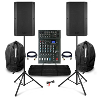 "Complete PA System with Vonyx VSA120S 12"" Active Speakers, Studiomaster XS6+ PA Mixer & Accessories"