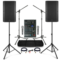 "Complete Karaoke PA System with Vonyx VSA120S 12"" Active Speakers, Studiomaster Mixer & Accessories"