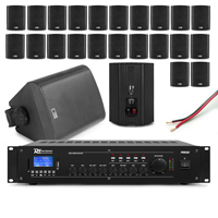 PD Background Music System, 12 BC40V Wall Speakers & Amplifier, Black