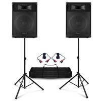 """Fenton CSB 15"""" Active DJ Speakers Pair with Stands"""