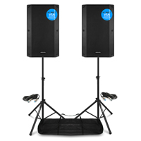 Vonyx VSA12 Active PA Speakers Pair with Stands