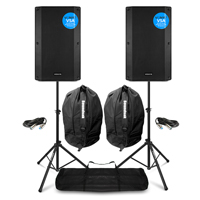 Vonyx VSA12 Active PA Speakers Pair with Stands & Bags