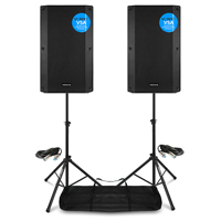 Vonyx VSA15 Active PA Speakers Pair with Stands