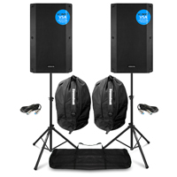 Vonyx VSA15 Active PA Speakers Pair with Stands & Bags