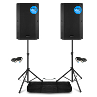 Vonyx VSA12BT Active PA Speakers Pair with Stands