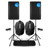 Vonyx VSA12BT Active PA Speakers Pair with Stands & Bags
