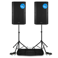 Vonyx VSA15BT Active PA Speakers Pair with Stands