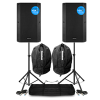 Vonyx VSA15BT Active PA Speakers Pair with Stands & Bags