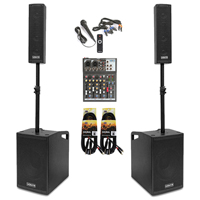 Vonyx VX1050 2.2 Active PA Speaker System with 4-Channel Mixer, Stands & Microphone