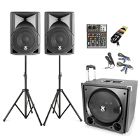Vonyx VX800 2.1 Active PA Speaker System with 4-Channel Mixer, Stands & Microphone