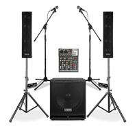 Vonyx VX880 2.1 Active PA Speaker System with 4-Channel Mixer, Stands & 2 Microphones