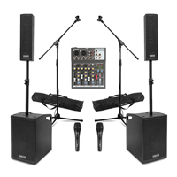 Vonyx VX1050 2.2 Active PA Speaker System with 4-Channel Mixer, Stands & 2 Microphones