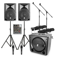 Vonyx VX800 2.1 Active PA Speaker System with 4-Channel Mixer, Stands & 2 Microphones