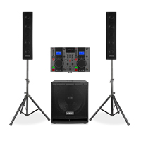 Vonyx VX880 2.1 Active PA Speaker System with CD Mixer, Stands & Microphone