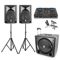 Vonyx VX800 2.1 Active PA Speaker System with CD Mixer, Stands & Microphone