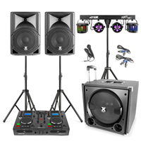 Vonyx VX800 2.1 Active Complete PA System with CD Mixer & Stage Lighting