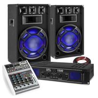 "Fenton BS15 15"" Passive Party PA Speaker Pair, Mixer & SPL1500 Amplifier"