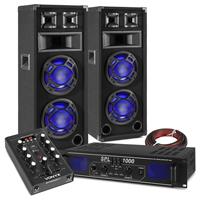 "Fenton BS208 8"" Dual Party Speaker Pair, Mixer & SPL500BT Amplifier"