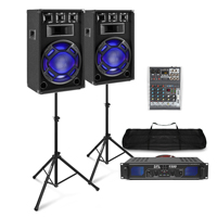 "Fenton BS15 15"" Passive Party PA Speaker Pair, Stands, Mixer & SPL1500BT Amplifier"