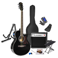 Max Black Electric Acoustic Guitar Package - Amp - Foot Stand - Guitar Stand