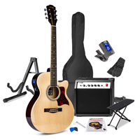 Max Natural Electric Acoustic Guitar Package - Amp - Foot Stand - Guitar Stand