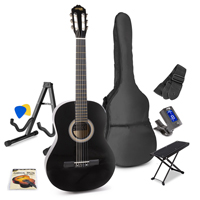 Max Black Classic Acoustic Guitar Package - Foot Stand - Guitar Stand