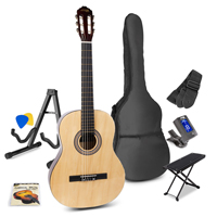 Max Natural Classic Acoustic Guitar Package - Foot Stand - Guitar Stand