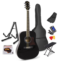 Max SOLOJAM Black Acoustic Guitar Package - Foot Stand - Guitar Stand