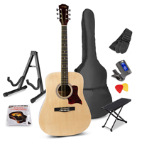 Max SOLOJAM Natural Acoustic Guitar Package - Foot Stand - Guitar Stand