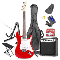 Max GigKit Red Electric Guitar Package - Amp - Foot Stand - Guitar Stand