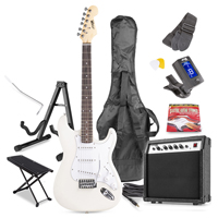 Max GigKit White Electric Guitar Package - Amp - Foot Stand - Guitar Stand