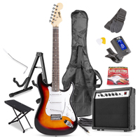 Max GigKit Sunburst Electric Guitar Package - Amp - Foot Stand - Guitar Stand