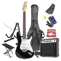 Max GigKit Black Electric Guitar Package - Amp - Foot Stand - Guitar Stand