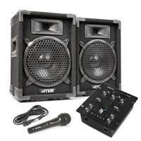 "Max 8"" Passive DJ Speakers Pair, VDJ25 DJ Mixer & Microphone"