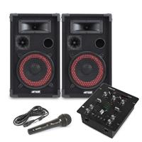 "Max Red 8"" Passive DJ Speakers Pair, VDJ25 DJ Mixer & Microphone"