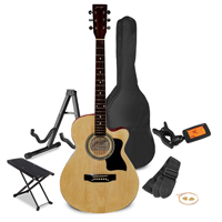 Johnny Brook Natural Acoustic Guitar Package - Foot Stand - Guitar Stand