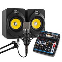 Vonyx Home Studio Setup with Desktop Speakers, Mixer & Microphone