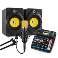 Vonyx Home Studio Setup with Desktop Speakers, Mixer & Gold Microphone